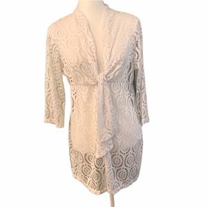 CATALINA Coverup Swim Wear White Tie Front Lace